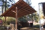 Roundpole structure over cob